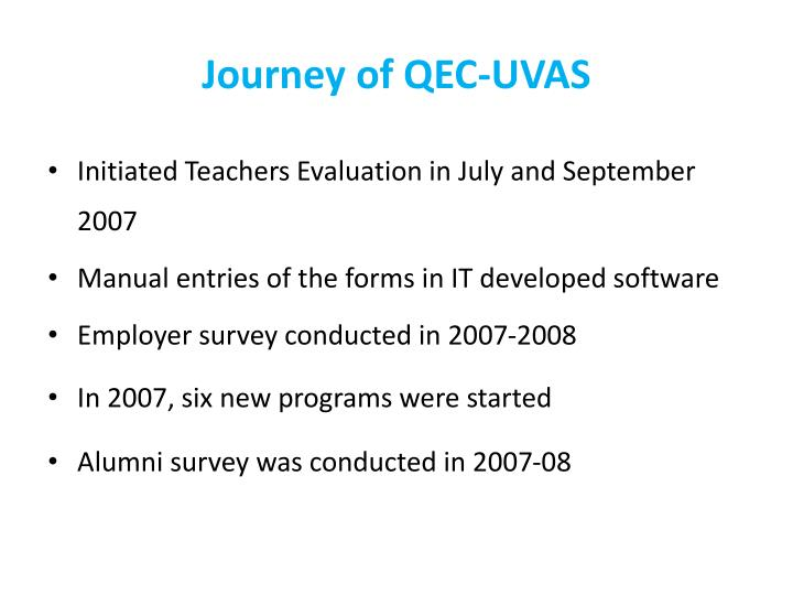 Journey of QEC-UVAS