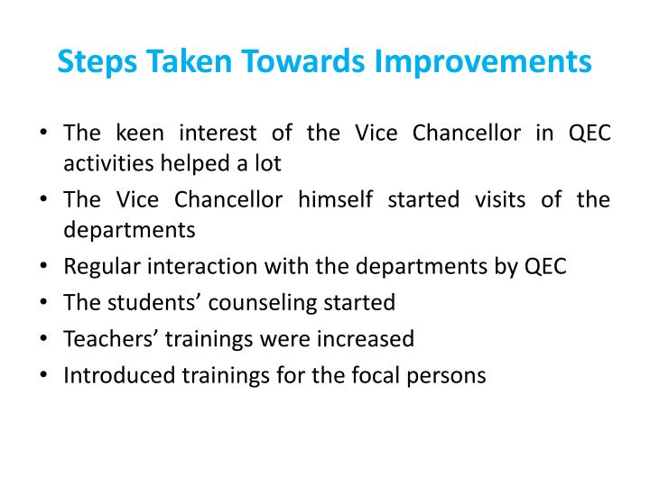 Steps Taken Towards Improvements