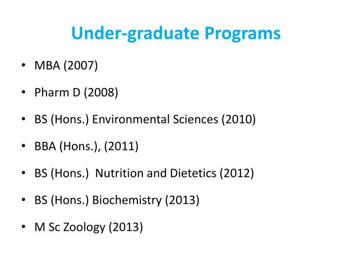 Under-graduate Programs