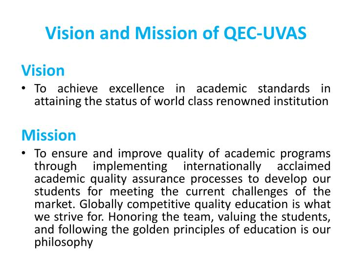 Vision and Mission of QEC-UVAS