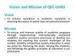 vision and mission of qec uvas