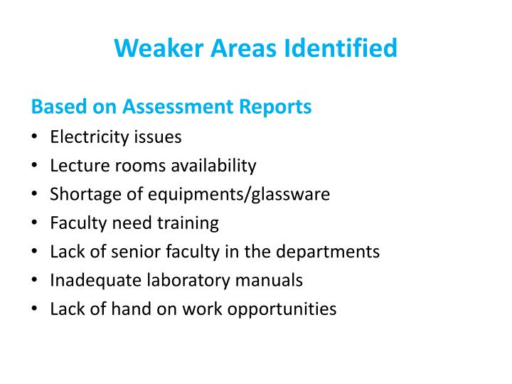 Weaker Areas Identified