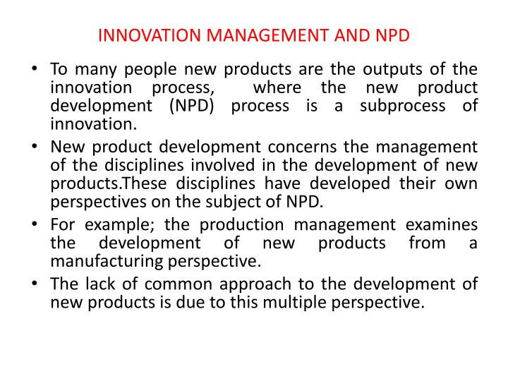 INNOVATION MANAGEMENT AND NPD