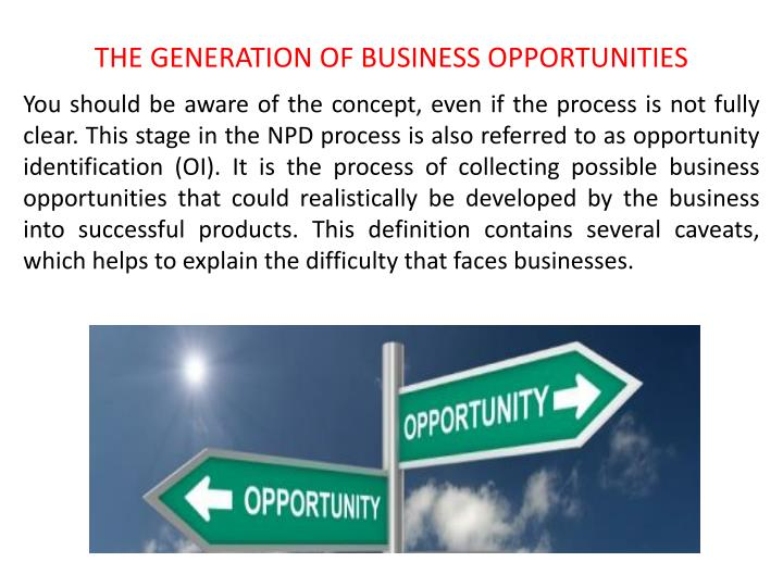 THE GENERATION OF BUSINESS OPPORTUNITIES