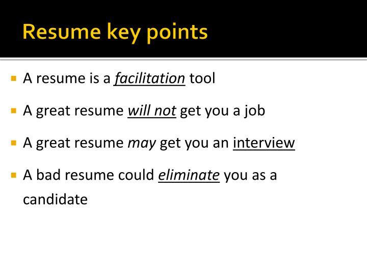 Resume key points