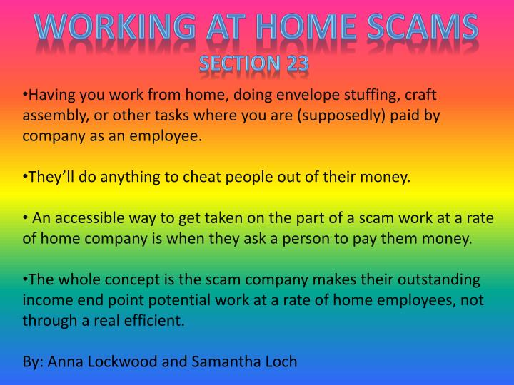 Working at home scams