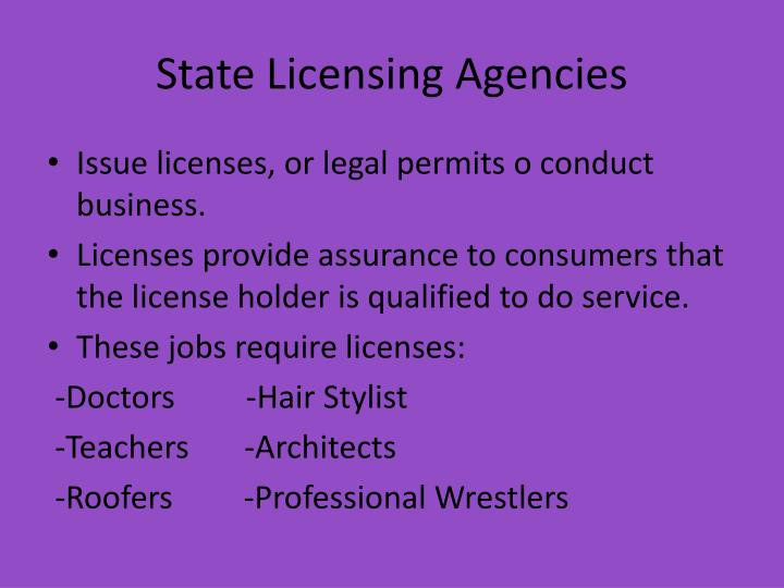 State Licensing Agencies