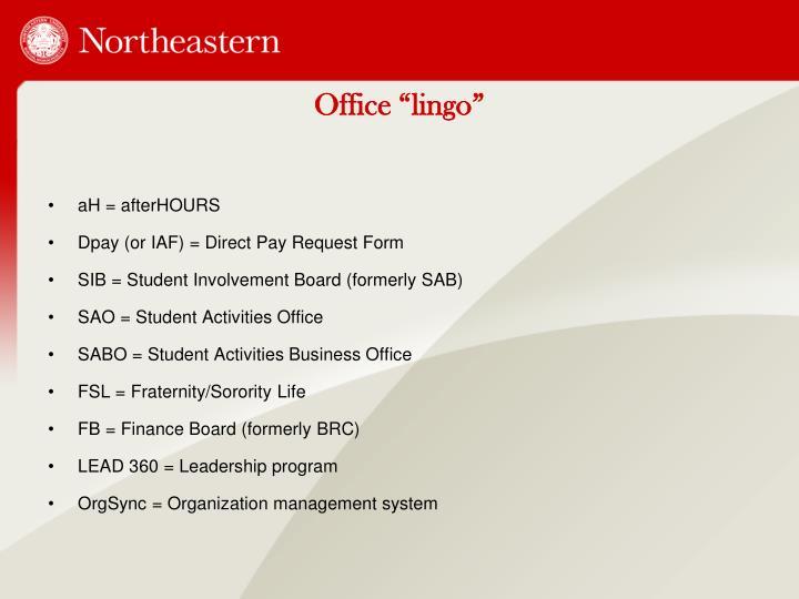 "Office ""lingo"""