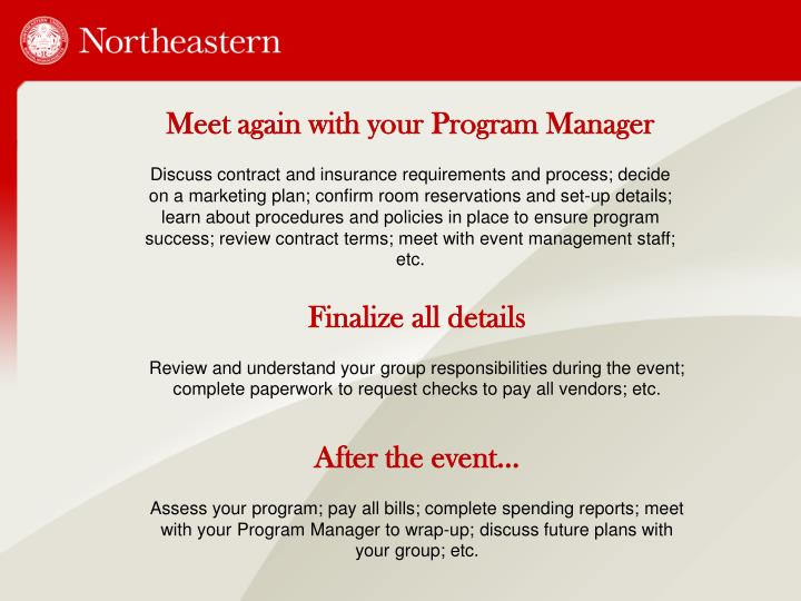 Meet again with your Program Manager