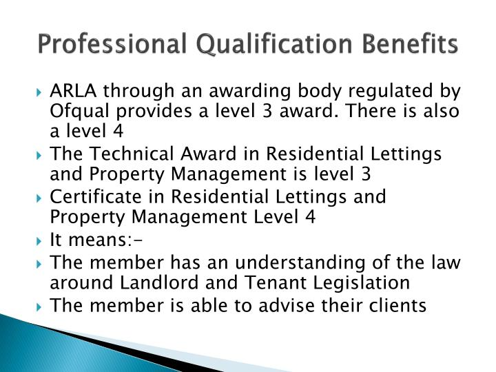Professional Qualification Benefits