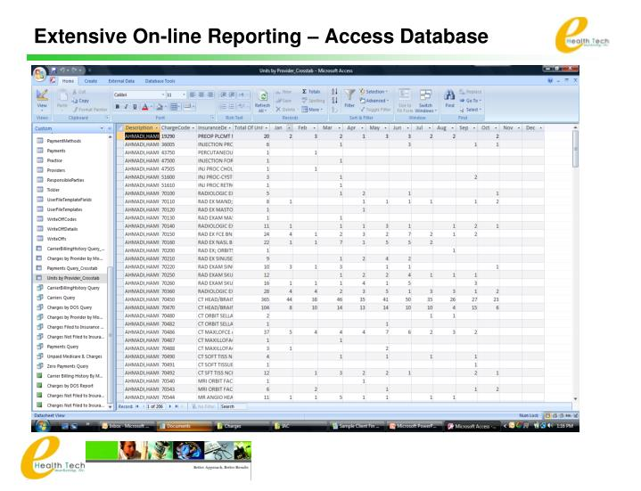 Extensive On-line Reporting – Access Database