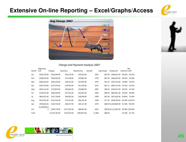 Extensive On-line Reporting – Excel/Graphs/Access