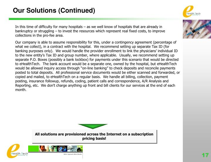 Our Solutions (Continued)