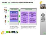 quality and scalability our business model