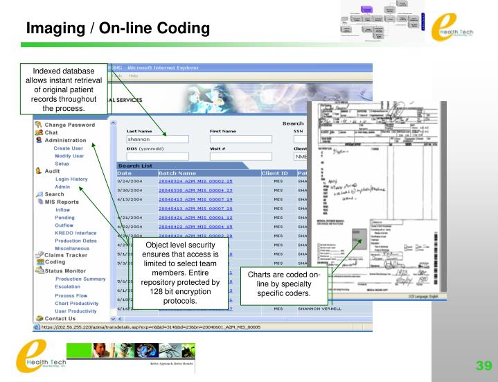 Imaging / On-line Coding