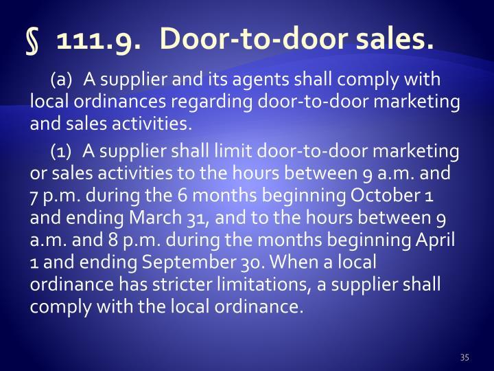 §111.9.Door-to-door sales
