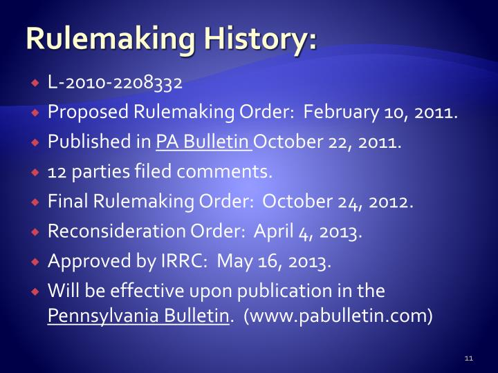 Rulemaking History: