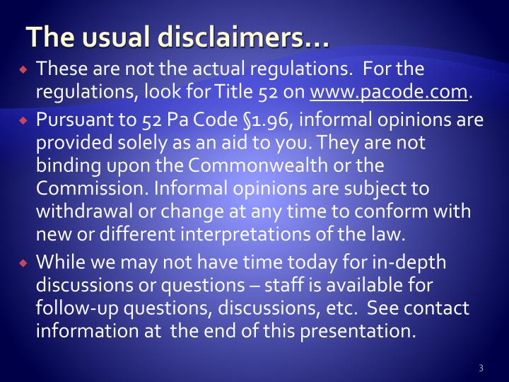 The usual disclaimers…