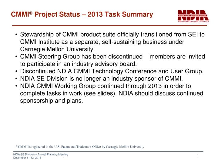 Cmmi project status 2013 task summary
