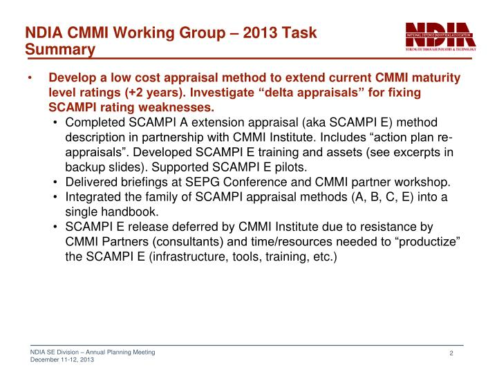 NDIA CMMI Working Group – 2013 Task Summary