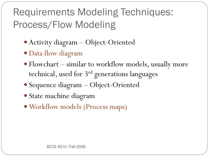 Requirements Modeling Techniques: Process/Flow Modeling