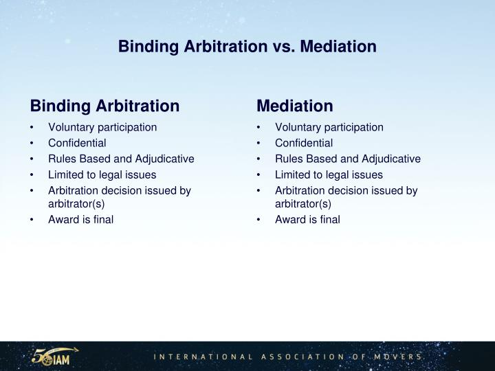 Binding Arbitration vs. Mediation