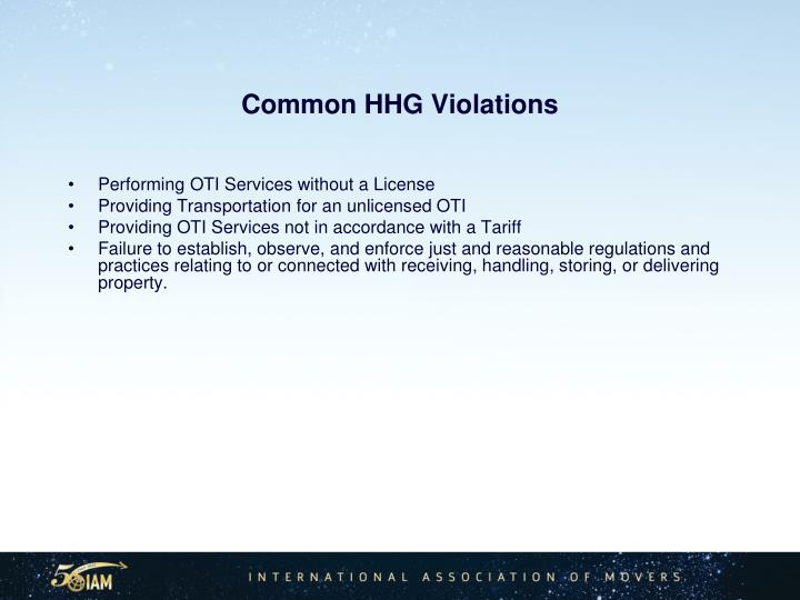 Common HHG Violations