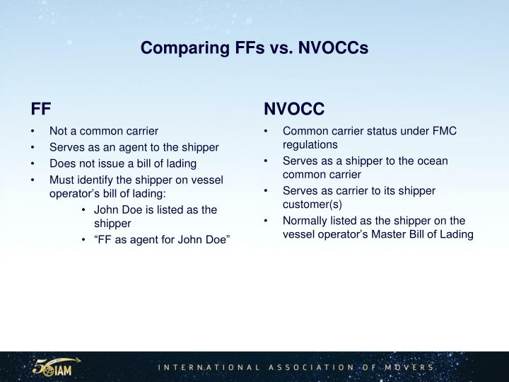 Comparing FFs vs. NVOCCs