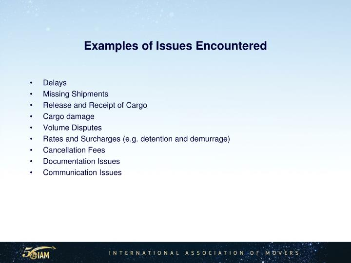 Examples of Issues Encountered
