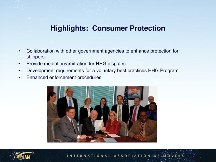 Highlights:  Consumer Protection