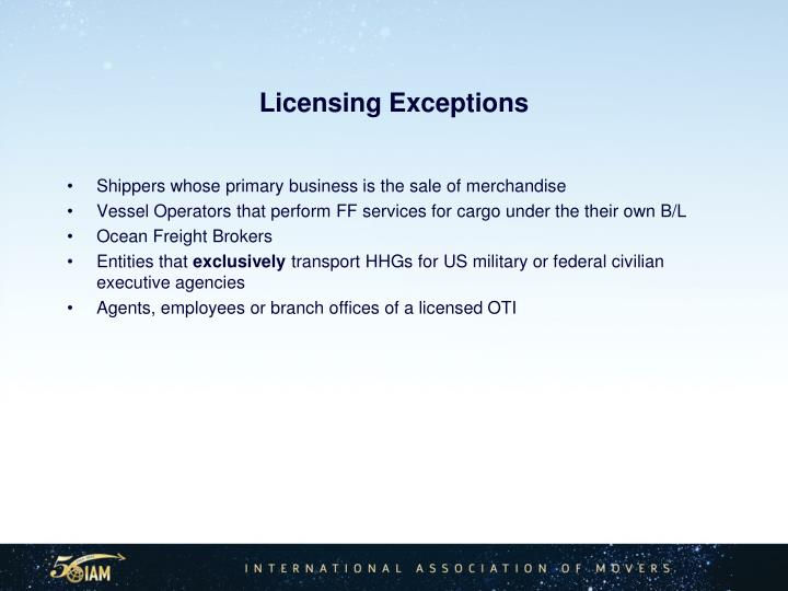Licensing Exceptions