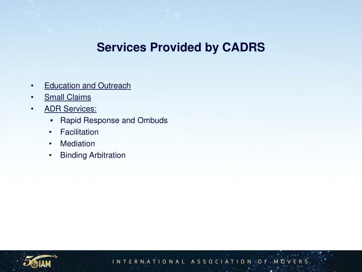 Services Provided by CADRS