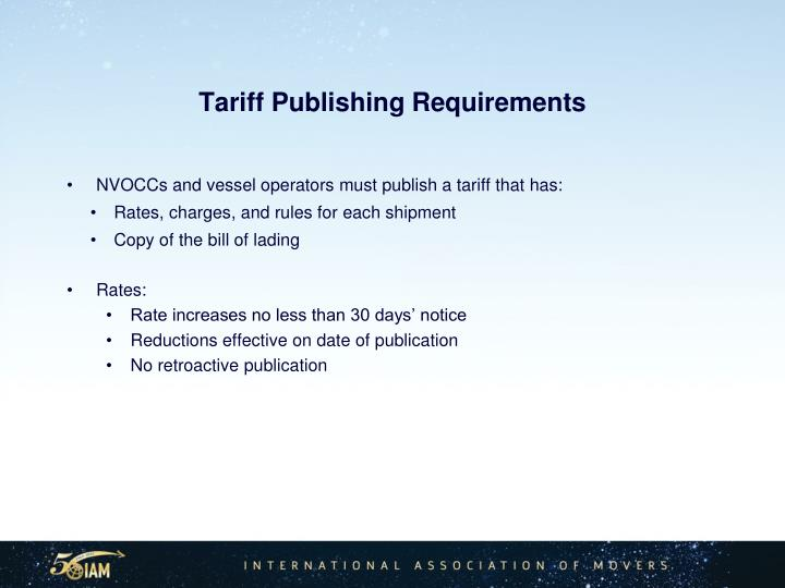 Tariff Publishing Requirements