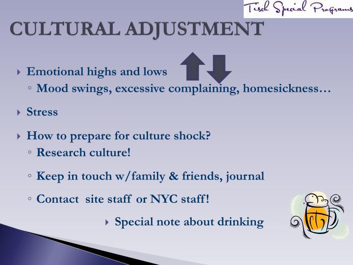 CULTURAL ADJUSTMENT