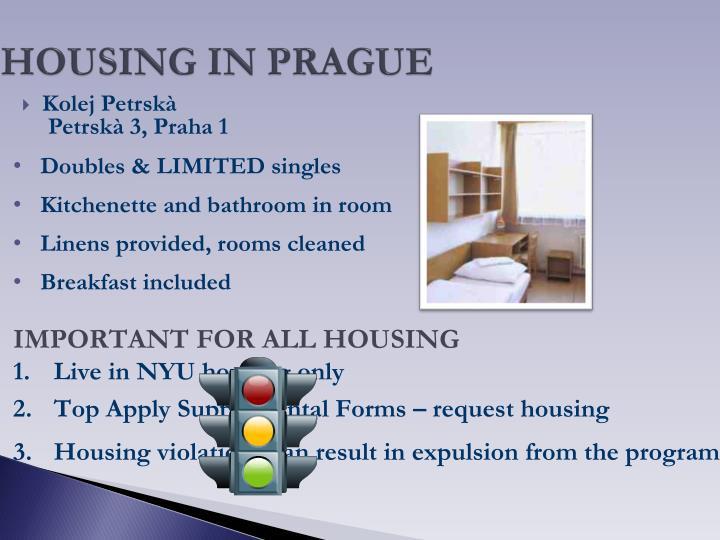 HOUSING IN PRAGUE