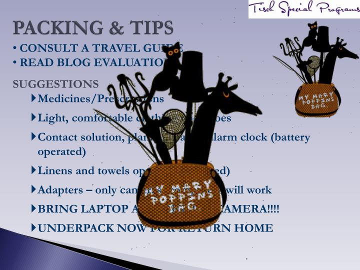 PACKING & TIPS