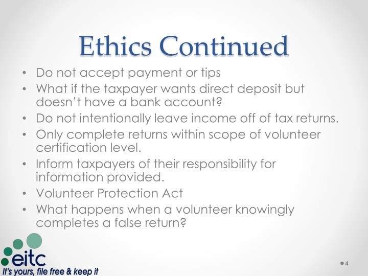 Ethics Continued