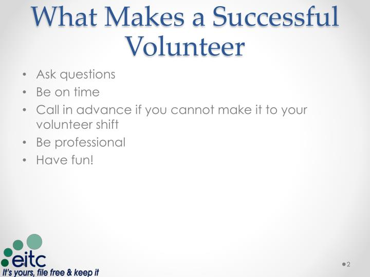 What makes a successful volunteer