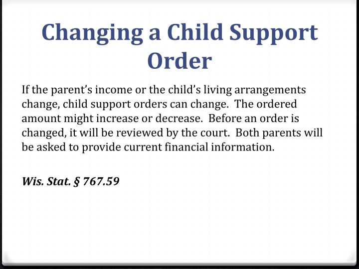 Changing a Child Support Order
