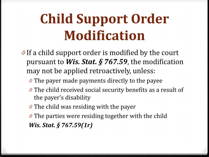 Child Support Order Modification