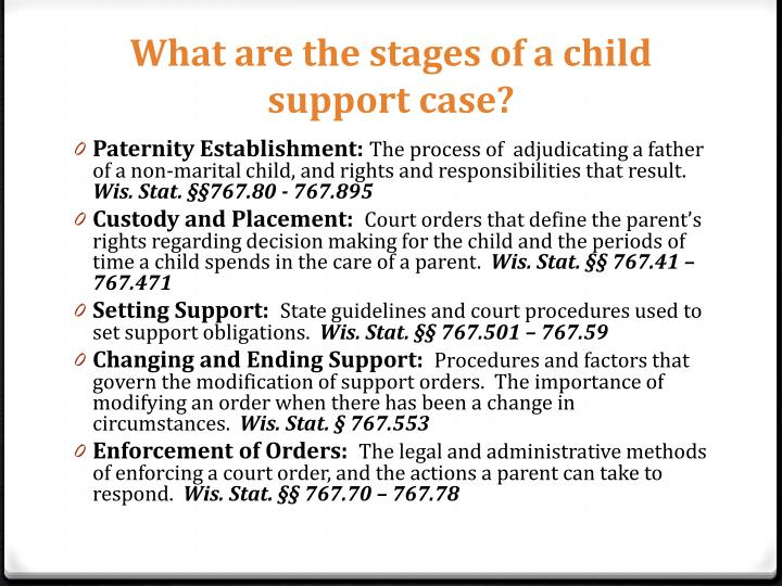 What are the stages of a child support case?