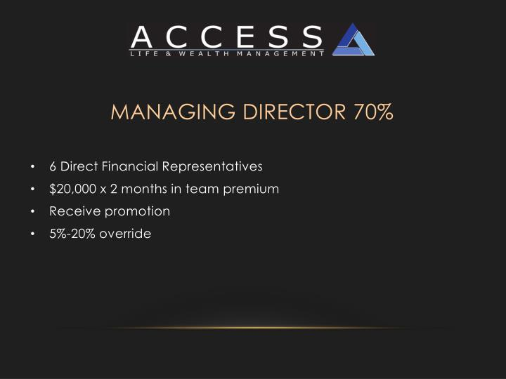 Managing Director 70%