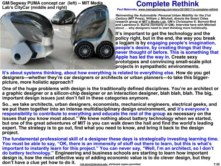 GM/Segway PUMA concept car  (left) -- MIT Media Lab's CityCar (middle and right)