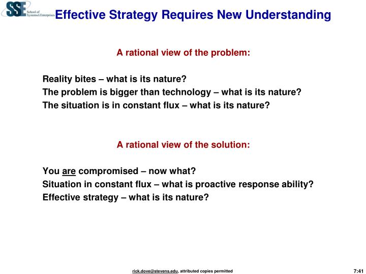 Effective Strategy Requires New Understanding
