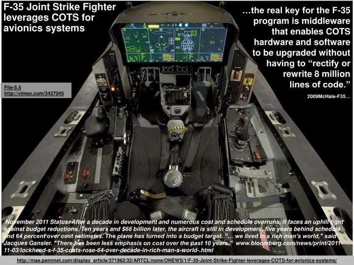 …the real key for the F-35 program is middleware that enables COTS hardware and software