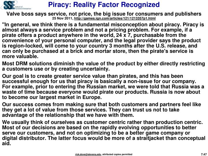Piracy: Reality Factor Recognized