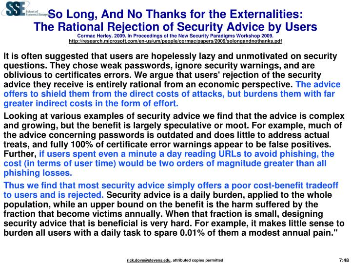 So Long, And No Thanks for the Externalities: