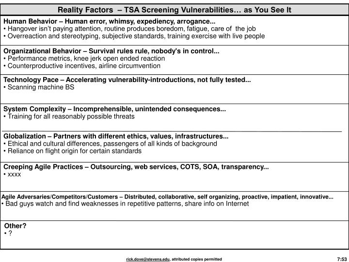 Reality Factors  – TSA Screening Vulnerabilities… as You See It