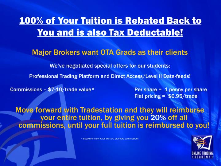 100% of Your Tuition is Rebated Back to You and is also Tax Deductable!