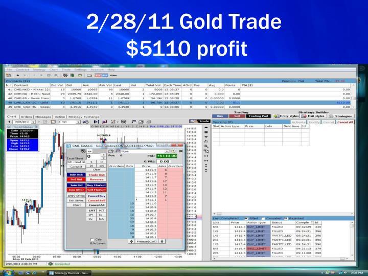 2/28/11 Gold Trade